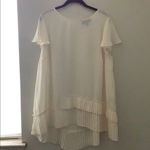 Lane Bryant Top with Flutter Sleeves and Pleats